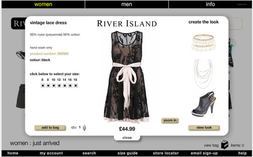 River Island's online store - a dress i worked on