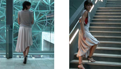 winged vest, assymetric puff skirt